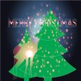 Arbre de Noël avec le fond de Noël et le vecteur de carte de voeux Images libres de droits