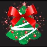 Arbre de Noël avec le fond de Noël et le vecteur de carte de voeux Photographie stock