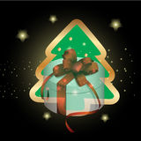 Arbre de Noël avec le fond de Noël et le vecteur de carte de voeux Photos libres de droits