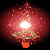 Arbre de Noël avec le fond de Noël et le vecteur de carte de voeux Photo stock