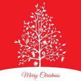 Arbre de Noël avec le fond rouge Image libre de droits