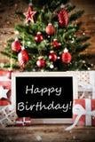 Arbre de Noël avec le joyeux anniversaire Photo stock