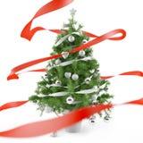 Arbre de Noël avec les billes argentées de Noël Images stock