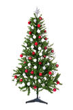 Arbre de Noël avec les boules colorées d'isolement sur le blanc Photographie stock