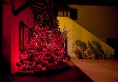 Arbre de Noël avec les lumières rouges à la ferme toscane images libres de droits