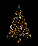arbre 2017 de Noël avec les notes musicales en métal d'or d'isolement sur le noir Photo libre de droits