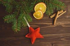 Arbre de Noël avec les oranges et la cannelle sèches Photo stock