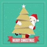 Arbre de Noël avec Santa Claus mignonne photo libre de droits