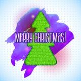 Arbre de Noël avec un sale et une aquarelle Photos libres de droits