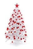 Arbre de Noël blanc avec la décoration rouge Images libres de droits