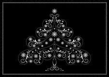 Arbre de Noël blanc de filigrane avec des flocons de neige et des perles Image libre de droits