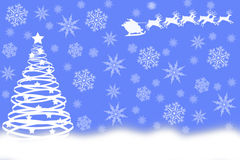 Arbre de Noël blanc dessiné par des cercles avec Santa Photo libre de droits