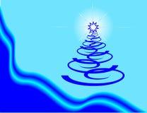 Arbre de Noël bleu-foncé. illustration de vecteur