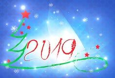 Arbre 2019 de Noël bleu de fond de nouvelle année de carte de vacances illustration de vecteur
