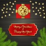 Arbre de Noël, boîte-cadeau, arc, guirlande, label Image stock