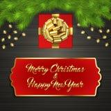 Arbre de Noël, boîte-cadeau, arc, guirlande, label Photo libre de droits