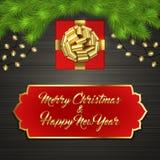 Arbre de Noël, boîte-cadeau, arc, guirlande, label Images stock
