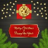 Arbre de Noël, boîte-cadeau, arc, guirlande, label Photographie stock libre de droits