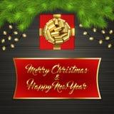 Arbre de Noël, boîte-cadeau, arc, guirlande, label Image libre de droits
