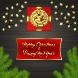 Arbre de Noël, boîte-cadeau, arc, guirlande, label Photos libres de droits