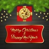 Arbre de Noël, boîte-cadeau, arc, guirlande, label Photos stock