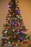 Arbre de Noël, bokeh de foyer, brouillé Images libres de droits