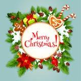 Arbre de Noël, cadeau, conception de fête d'affiche de sucrerie illustration stock