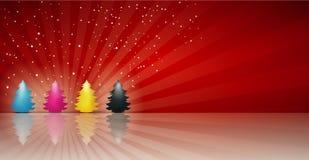 Arbre de Noël de cmyk de concept dans le noir jaune magenta cyan Joyeux Noël Fond rouge illustration libre de droits