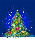 Arbre de Noël coloré et bille colorée là-dessus Image stock