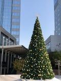 Arbre de Noël contre la concurrence de gratte-ciel photographie stock