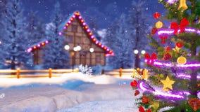 Arbre de Noël décoré à la fin de nuit d'hiver  illustration de vecteur
