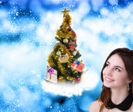 Arbre de Noël décoré Photos libres de droits