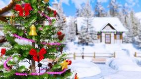 Arbre de Noël décoré au jour d'hiver 4K en gros plan banque de vidéos