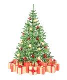 Arbre de Noël décoré avec beaucoup de boîte-cadeau Photo stock
