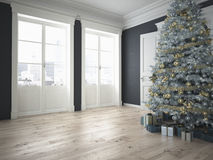 Arbre de Noël décoré avec un bon nombre de présents rendu 3d Photo stock