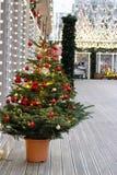 Arbre de Noël décoré dans le pot sur la rue au voyage de ` de festival au ` de Noël photos stock