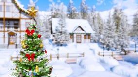 Arbre de Noël décoré extérieur au jour d'hiver 4K banque de vidéos