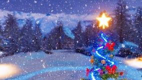 Arbre de Noël décoré extérieur la nuit 4K hiver illustration stock