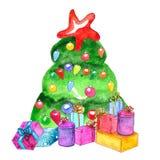 Arbre de Noël décoré par aquarelle avec des présents illustration libre de droits