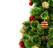 Arbre de Noël décoré sur le fond blanc Images stock