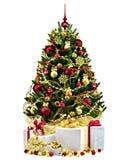Arbre de Noël décoré sur le fond blanc Photographie stock