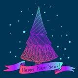 Arbre de Noël décoratif lumineux de Noël bel Image libre de droits