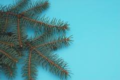 Arbre de Noël de décoration sur le fond bleu avec l'espace des textes photos libres de droits