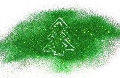 Arbre de Noël d'étincelle verte de scintillement sur le fond blanc Photo libre de droits