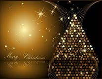 Arbre de Noël d'or Photographie stock