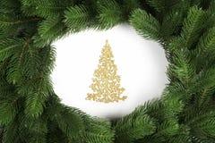 Arbre de Noël d'or avec des branches de sapin Vue supérieure photos stock