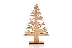 Arbre de Noël d'or sur le blanc Image stock