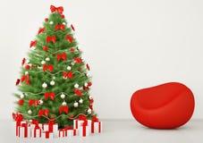 Arbre de Noël dans la chambre 3d intérieur Photo stock
