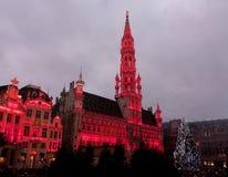Arbre de Noël dans la place grande, Bruxelles Photographie stock