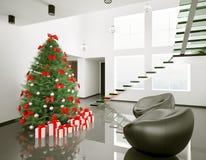 Arbre de Noël dans la salle moderne 3d intérieur Image stock